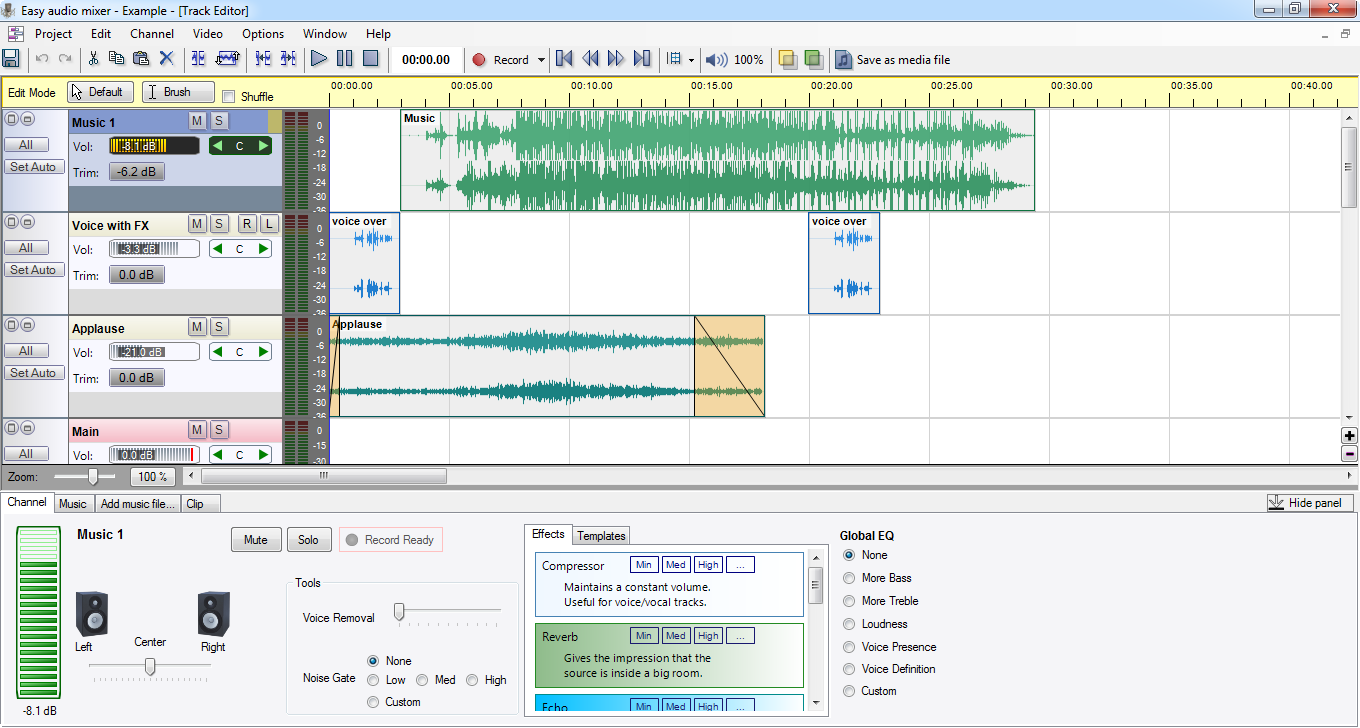 A multi track audio editor for beginners.
